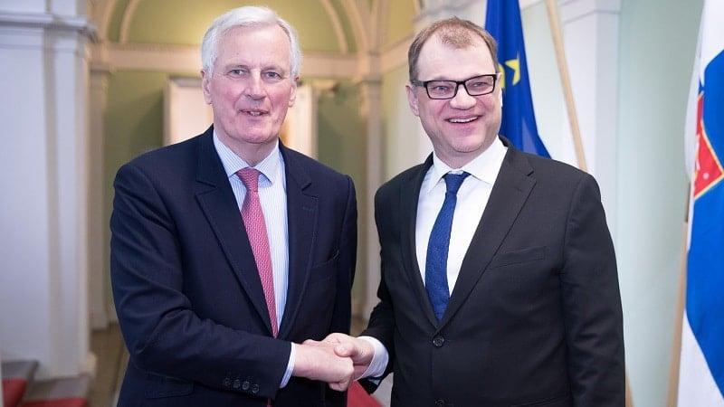 EU Brexit-pääneuvottelija Michel Barnier Juha Sipilä talous