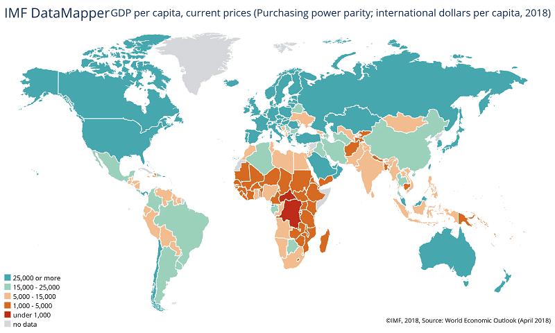 IMF bruttokansantuote per capita ostovoimakorjattu maavertailu talous