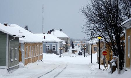 Raahe kaupunki puukaupunki talvi katu kunta